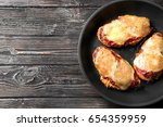 tasty chicken parmesan with... | Shutterstock . vector #654359959