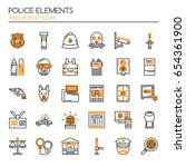 police elements    thin line... | Shutterstock .eps vector #654361900