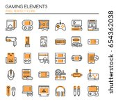 gaming elements   thin line and ... | Shutterstock .eps vector #654362038