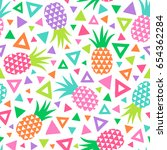 colorful hand drawn pineapple... | Shutterstock .eps vector #654362284