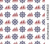 nautical seamless pattern with... | Shutterstock .eps vector #654368410