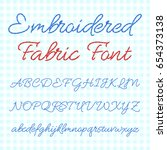 embroidered fabric font with... | Shutterstock .eps vector #654373138