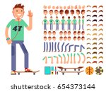 young and happy vector... | Shutterstock .eps vector #654373144