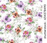 watercolor flower print. modern ... | Shutterstock . vector #654378490