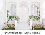 classic white terrace. spring... | Shutterstock . vector #654378568