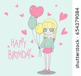 happy birthday card with cute...   Shutterstock .eps vector #654379084