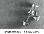 top view of two shiny steel... | Shutterstock . vector #654379393