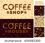 two banner with coffee... | Shutterstock .eps vector #654382300