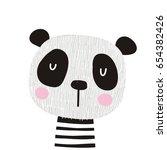 panda vector print. love panda | Shutterstock .eps vector #654382426