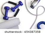sports kit  dumbbells  expander ... | Shutterstock . vector #654387358