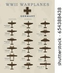world war ii warplanes in... | Shutterstock .eps vector #654388438