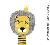 print with cute lion. can be... | Shutterstock .eps vector #654396469