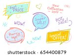 collection of trendy sale... | Shutterstock .eps vector #654400879