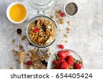 granola with dry fruits  nuts... | Shutterstock . vector #654405424