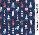cartoon lighthouse pattern. red ... | Shutterstock .eps vector #654407368