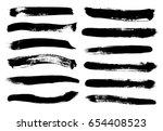 set of black paint  ink brush... | Shutterstock .eps vector #654408523
