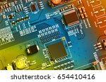 electronic circuit board close... | Shutterstock . vector #654410416