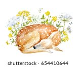 watercolor floral print.... | Shutterstock . vector #654410644