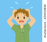 vector illustration of anxious... | Shutterstock .eps vector #654410830