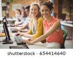 portrait of smiling students... | Shutterstock . vector #654414640