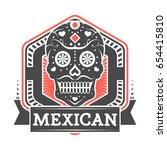 mexican vintage isolated label... | Shutterstock .eps vector #654415810