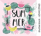 summer paradise poster with... | Shutterstock .eps vector #654415960