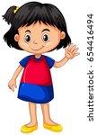 little girl waving hand... | Shutterstock .eps vector #654416494