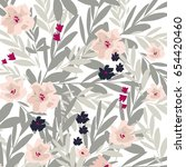 flowers pattern. watercolor... | Shutterstock .eps vector #654420460