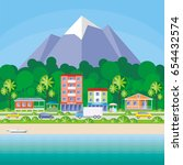 street of the small resort... | Shutterstock .eps vector #654432574
