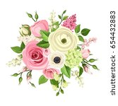vector bouquet of pink and... | Shutterstock .eps vector #654432883