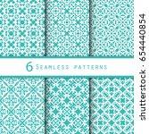 seamless set of 6 vintage... | Shutterstock .eps vector #654440854