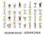 alcoholic cocktails with titles.... | Shutterstock .eps vector #654441964