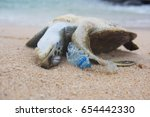dead turtle and plastic bottle... | Shutterstock . vector #654442330