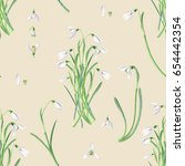 spring time forest snowdrops... | Shutterstock . vector #654442354