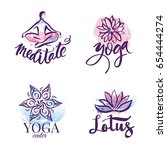 set of yoga studio and... | Shutterstock .eps vector #654444274