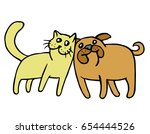 friendship of a cat and a dog.... | Shutterstock .eps vector #654444526