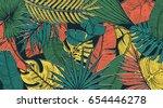 vintage tropic pattern design.... | Shutterstock .eps vector #654446278