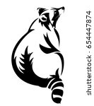 sitting raccoon black and white ... | Shutterstock .eps vector #654447874