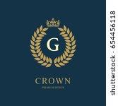 wreath monogram luxury design ... | Shutterstock .eps vector #654456118
