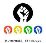 raised fist logo icons set  ... | Shutterstock .eps vector #654457198