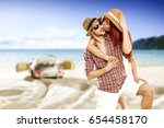 summer time and two lovers on... | Shutterstock . vector #654458170