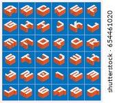 vector a z alphabet orange text ... | Shutterstock .eps vector #654461020