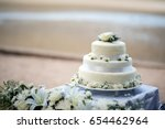 beautiful wedding cake  close... | Shutterstock . vector #654462964