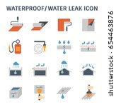 waterproofing and water leaked... | Shutterstock .eps vector #654463876