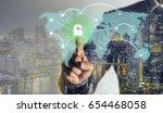 double exprosure  businessman... | Shutterstock . vector #654468058