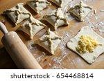 khachapuri with cheese inside... | Shutterstock . vector #654468814