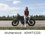 the girl sitting on a... | Shutterstock . vector #654471220