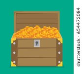 open treasure chest isolated... | Shutterstock .eps vector #654472084