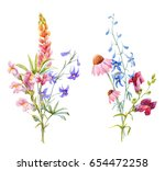 watercolor floral bouquet  ... | Shutterstock . vector #654472258
