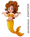 Stock vector vector illustration of cute mermaid cartoon 654472429
